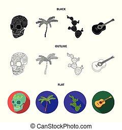 ensemble, mexicain, mexique, national, arbre, paume, cactus, style, icônes, guitare, noir, stockage, symbole, web., collection, illustration, instrument, crâne, pays, vecteur, vert, spines., image