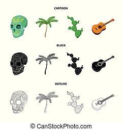 ensemble, mexicain, mexique, national, arbre, paume, cactus, style, icônes, guitare, stockage, symbole, web., collection, dessin animé, illustration, instrument, crâne, pays, vecteur, vert, spines., image