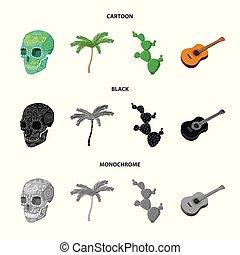 ensemble, mexicain, mexique, national, arbre, paume, cactus, style, icônes, guitare, stockage, symbole, web., collection, illustration, instrument, crâne, pays, dessin animé, vecteur, vert, spines., image
