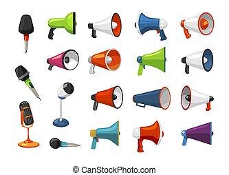ensemble, microphones, coloré, haut-parleurs