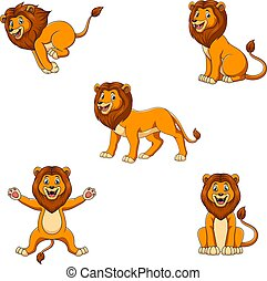 ensemble, mignon, pose lion, différent, dessin animé