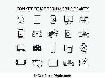 ensemble, mobile, tablette, montre, moderne, appareils, vecteur, tel, smartphone, intelligent, icône