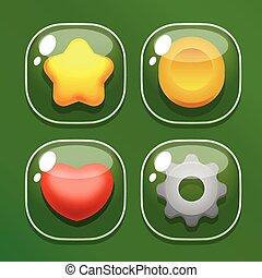 ensemble, mobile, verre, jeu, ui, butons