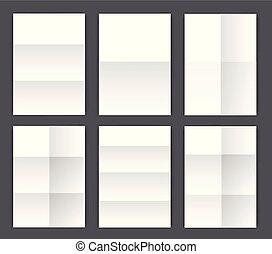 ensemble, mockup, grand, plié, papier, a4, page blanche