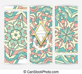 ensemble, modèle, 3, gabarit, géométrique, mandala, bannière