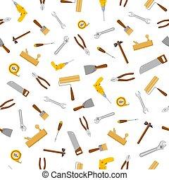 ensemble, modèle, seamless, isolé, construction, fond, blanc, tools.