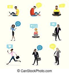 ensemble, -, mode, et, professionnels, à, intelligent, gadgets, et, bulle, parole