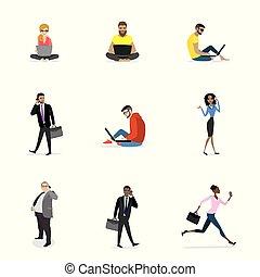 ensemble, -, mode, et, professionnels, à, intelligent, gadgets, isolé, blanc, fond