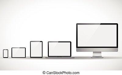 ensemble, moderne, appareils, numérique