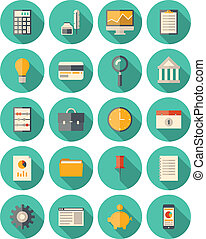 ensemble, moderne, finance, icones affaires