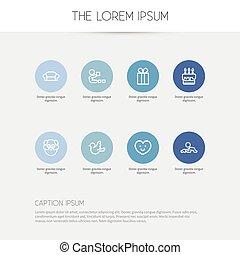 ensemble, moineau, symboles, infographic, design., amour, parents, véhicule, 8, être, jeu, utilisé, editable, toile, inclut, icons., tel, more., mobile, contour, ui, boîte