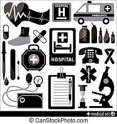 ensemble, monde médical, éléments, conception, fond, icône