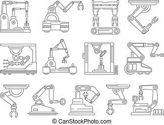 ensemble, mono, robotique, production., vecteur, images, ligne, machines