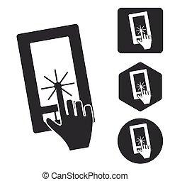 ensemble, monochrome, touchscreen, smartphone, icône