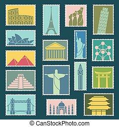 ensemble, monuments, icônes, illustration, symboles, timbres, vecteur