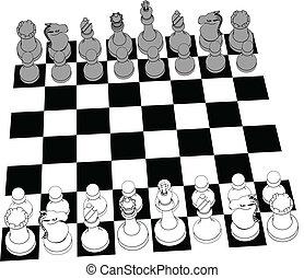 ensemble, morceaux, jeu, échecs, dessin ligne, 3d