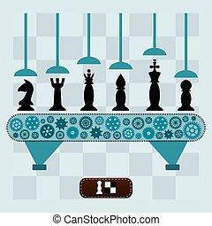 ensemble, morceaux, machine, pieces., échecs, board., marques
