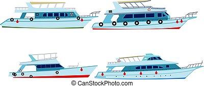 ensemble, moteur, yachts