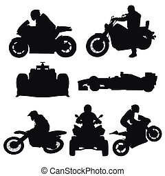 ensemble, motocross, voitures, motocyclettes, silhouettes, vecteur, courses, route