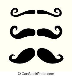 ensemble, moustache, icône