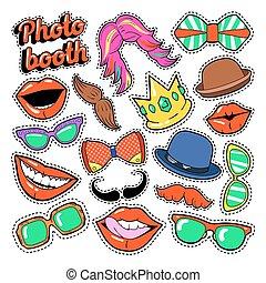 ensemble, moustache, photo, chapeaux, lunettes, cabine, fête