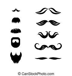 ensemble, moustache, vector., barbe