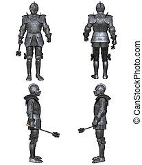 ensemble, moyen-âge, chevalier, caractère, (gothic, fantasme, decorated)