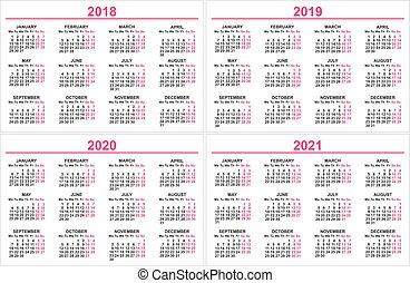 Calendrier 2018 2021 Calendrier, 2018 2021. Semaine, 2018 2021, débuts, /, années