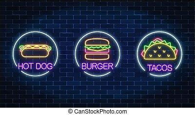 ensemble, mur, néon, chien, hamburger, trois, sombre, arrière-plan., chaud, incandescent, signes, cadres, cercle, tacos, brique