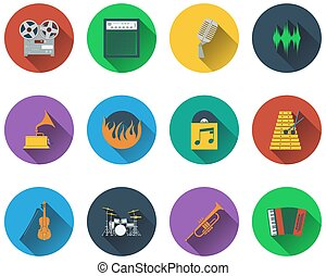 ensemble, musical, icônes