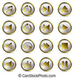 ensemble, musique, or, icônes