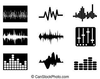 ensemble, musique, soundwave, icônes