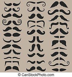 ensemble, mustache., silhouette., vecteur, hipster, facile, noir, edit.