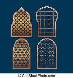 ensemble, musulman, collection, fenêtre, vecteur, frontière