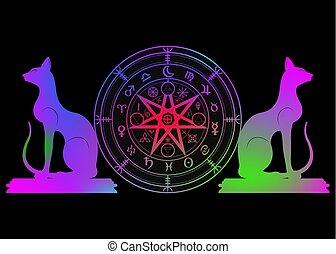 ensemble, mystique, année, la terre, mandala, signes, divination., symboles, ancien, coloré, runes, isolé, astrologique, roue, wicca, symbole, chats, occulte, wiccan, protection., vecteur, sorcières, zodiaque