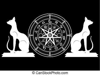 ensemble, mystique, année, la terre, mandala, signes, divination., symboles, ancien, runes, isolé, noir, astrologique, roue, wicca, symbole, chats, occulte, wiccan, protection., vecteur, sorcières, zodiaque