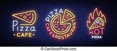 ensemble, néon, topic, clair, signes, restaurant, encas, dîner, pizzeria, café, vector., pizza, salle, collection, illustration, billboard., bar., logos, vecteur, publicité, nuit, emblems.
