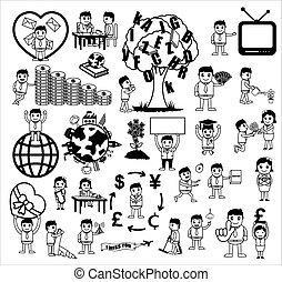 ensemble, n, noir, concepts, blanc, dessin animé