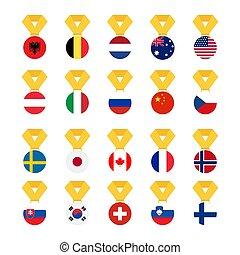 ensemble, national, -, isolé, illustration, arrière-plan., drapeau, vecteur, drapeaux, mondiale, blanc, médaille
