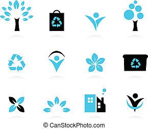 ensemble, nature, écologie, icônes, isolé, environnement, blanc