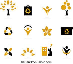 ensemble, nature, écologie, icônes, -, isolé, environnement, re, blanc