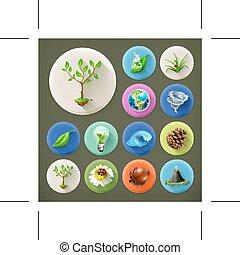 ensemble, nature, écologie, long, ombre, icône