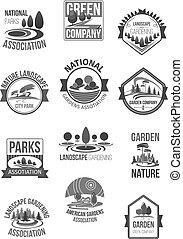 ensemble, nature, compagnie, icônes, vecteur, paysage
