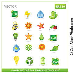 ensemble, nature, grand, symboles, vert, meute