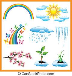 ensemble, nature, printemps, objet, vecteur, icône