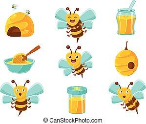 ensemble, naturel, coloré, abeilles, jaune, miel, illustrations, ruches, pots, dessin animé