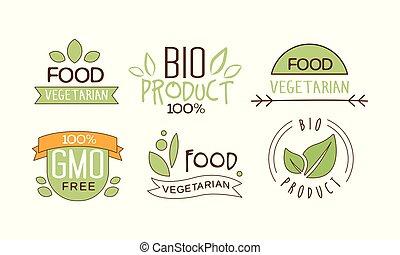 ensemble, naturel, gluten, nourriture, végétarien, étiquettes, text., emballage, emblèmes, vecteur, produits, free., nutrition.