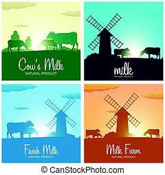ensemble, naturel, product., sunrise., lait, banners., village., rural, aube, moulin, paysage, cows.