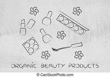 ensemble, naturel, produits, produits de beauté, maquillage, organique, fleurs