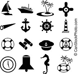 ensemble, nautique, icônes